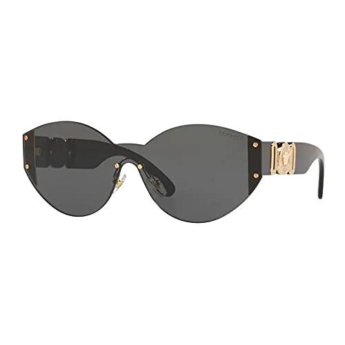 Versace Gafas de sol para mujer, montura de metal con lentes doradas, 46 mm