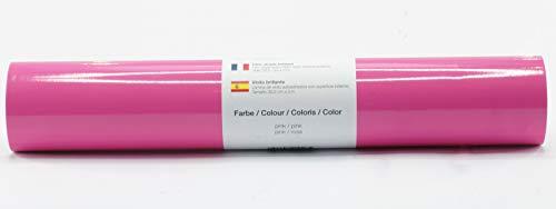 Selbstklebende Plotterfolie Vinylfolie 30,5 cm x 3 m glänzend 39 Farben zur Auswahl, Farbe:Pink