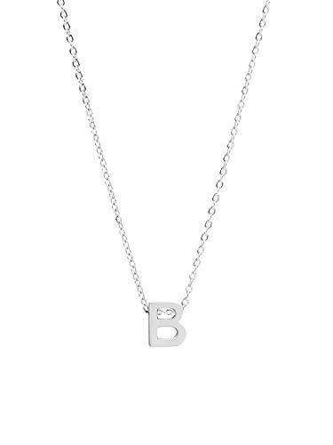 ILLISIO Tiny Letter Necklace   Damen Halskette aus Edelstahl   personalisierte Kette mit kleinem Buchstaben Anhänger (8mm) in Gold, Silber oder Roségold   Kettenlänge 46cm (B, Silber)