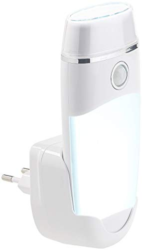 Lunartec Lámpara de Enchufe: 4 en 1, multifunción, batería y Carga de inducción (luz Nocturna), Blanco