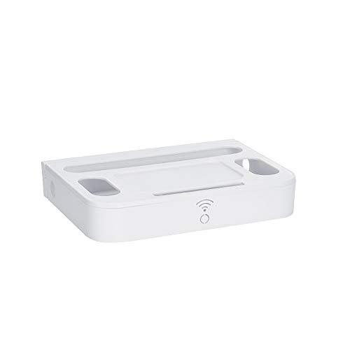 Cajas de almacenamiento para enrutador WiFi, enchufe de alimentación, cajas de almacenamiento de alambre, montado en la pared, estante flotante organizador rack para el hogar y la oficina, color blanco