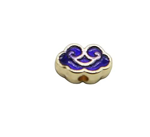 2pcs oro zafiro azul esmalte pequeños granos de la nube Metal Cloisonne Beads Spacer Vintage Art Bead Design Charm Bracelet Asiático Bead 10mm x 7mm