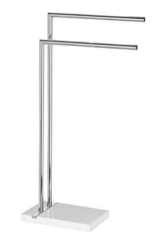 WENKO Handtuchständer Noble mit 2 Armen - Kleiderständer, Stahl, 45,5 x 82 x 20 cm, chrom/weiß