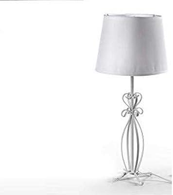 Lampada lumetto da tavola abat-jours bianca struttura in metallo 21 * 48 cm arredo shabby chic WXP-778773