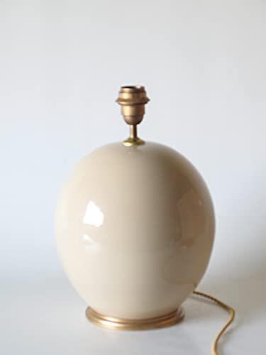 POLONIO Lámpara de Ceramica Mediana de Salon de 25 cm Beige, E27, 60 W - Pie de Lámpara de Cerámica Sobremesa Beige - Jarron de Ceramica Beige