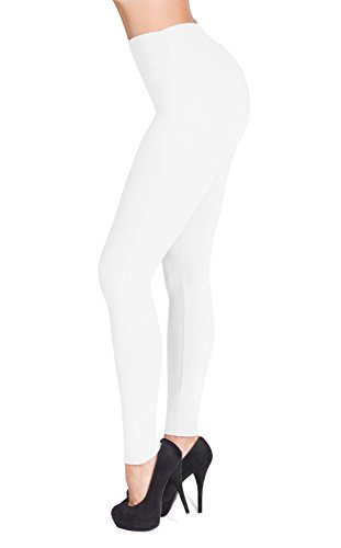 SATINA #1 High Waisted Buttery Soft Leggings | Regular and Plus Size | 22 Colors (One Size, White)