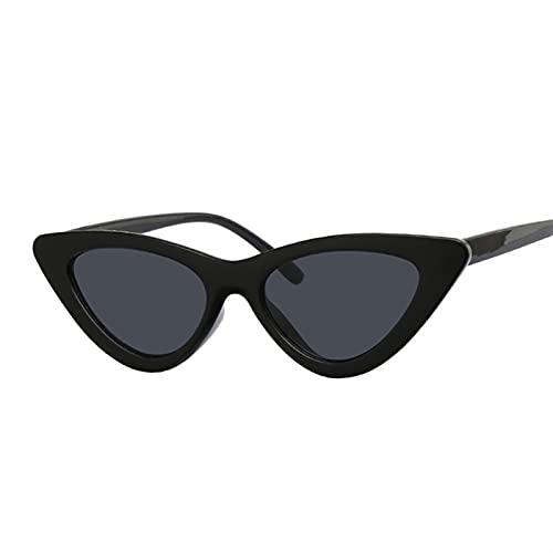 TUEWDFSA Gafas de Sol Vintage Espejo Gato Ojo Gafas de Sol Mujeres Moda diseñador Lujo pequeño cateye Gafas de Sol para Mujer Producto al Aire Libre (Lenses Color : Black Gray)