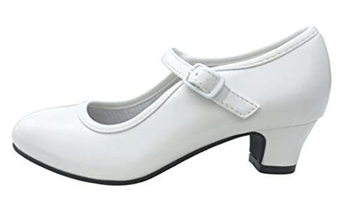 Costumizate! Zapatos de Baile Flamenco con Diferentes Tallas Desde niña a Mujer. Precioso Color Blanco Talla 36