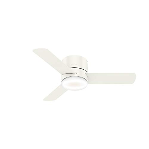 Hunter Indoor Low Profile Ceiling Fan with LED Light and remote control - Minimus 44 inch, White, 59452