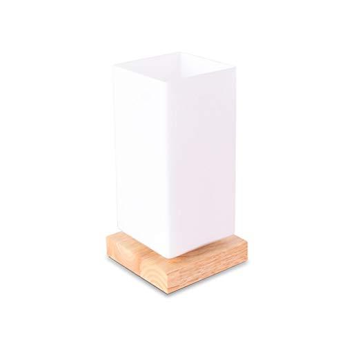 Lámpara de Mesa Decorativa Simple Creativa Madera Vidrio Escritorio de Restaurante Atenuación Luz Nocturna Lámpara de Noche Dormitorio Blanco (Color: Monocromo)