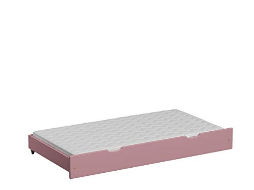Children's Beds Home Pull Out Trundle Single Bed - Leo with HR Latex Foam Mattress (170x90 for 180x90 Bed, Pink)