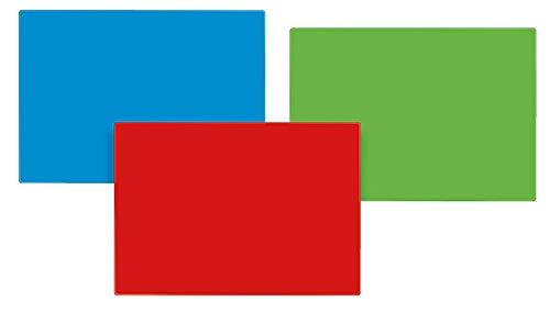 Veloflex Bastelunterlage DIN A3, rutschfest, abwischbar, Knetunterlage, Schreibunterlage (blau + rot + grün)