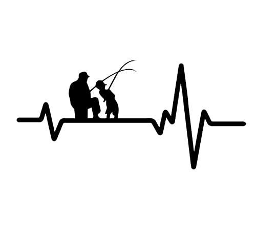 MDGCYDR Autoadesivo dell'automobile 17 Cm * 8 Cm Decalcomania del Vinile Battito Cardiaco Linea di Pesca Padre papà Figlio Canna da Pesca Mulinello Lure Autoadesivo dell'automobile Nero/Argento
