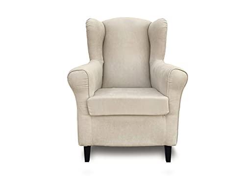 Sillón orejero, butaca tapizada Tela Antimanchas, sillón Lactancia, sillón Relax (Blanco Roto)