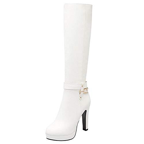 Lydee Mujer Elegant Botas Altas Tacón Anchos Botas Muslo Plataforma Dress Botas Largas Oficina Invierno Zapatos Tacones Cremallera White Tamaño 34