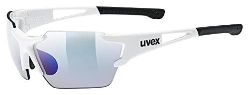 uvex Unisex– Erwachsene, sportstyle 803 race V small Sportbrille, selbsttönend, schmale Passform, white/blue, one size