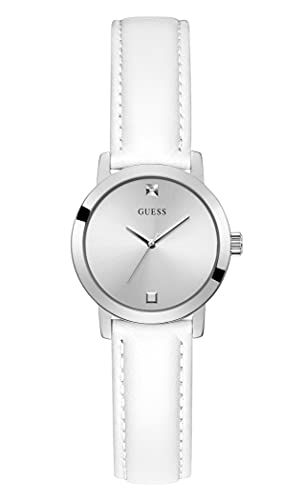 GUESS Women's Stainless Steel Quartz Watch with Leather Strap, White, 12 (Model: GW0246L1)