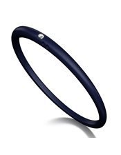 Duepunti Armreif Reif Armband aus Silikon blau/dunkelblau mit einem Diamant DPA 5003 Gr. M Ø ca. 18 cm