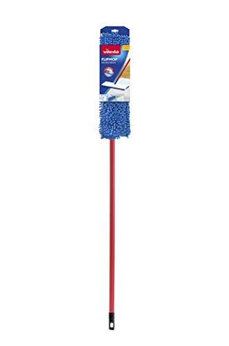 Vileda Flip Mop-Mopa de microfibras con Forma Trapezoidal, compuesta de 2 Caras para una Limpieza más Completa y en Profundidad, Azul, Blanco y Rojo