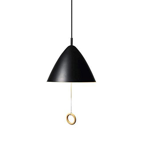 Creatieve moderne minimalistische metalen restaurant kroonluchter conische ijzeren kunst plafondlamp lamp lamp slaapkamer nacht kinderkamer E27 LED hanglamp met trekschakelaar (kleur: zwart), DDB zwart