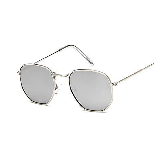 UKKD Gafas De Sol Mujeresvintage Square Gafas De Sol Mujeres Sombras Retro Clásico Black Sun Glasses Femenino Masculino De Lujo-Silver Silver