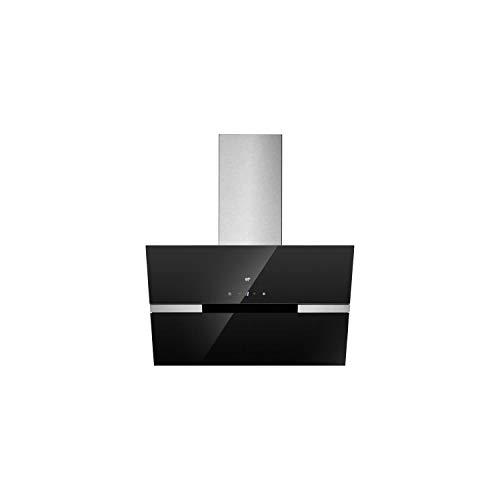 CONTINENTAL EDISON H9062BV - HOTTE INCLINEE DECO 90 CM, NOIR EN VERRE AVEC BANDE INOX