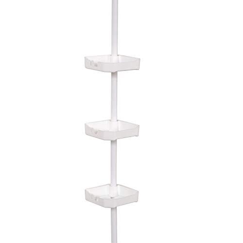 Zenna Home Tension Corner Shower Pole Caddy, White