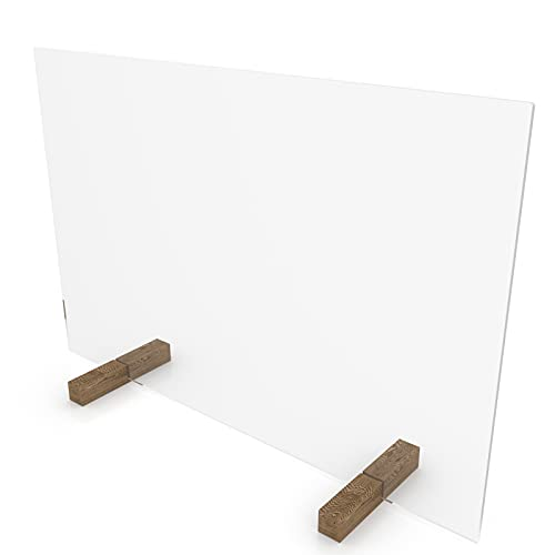 nattmann PLEXIGLAS® Spuckschutz ohne Durchreiche Trennwand Thekenaufsatz (60x50cm (BxH), Standfüße: PLEXIGLAS® klar)