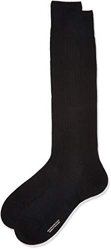 Pantherella Herren 1 Paar gerippte Socken aus Merinowolle - Schwarz 39-41