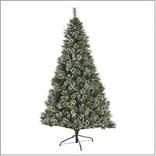 Christopher Knight Home 307338 9-Foot Mixed Spruce Pre-lit LED or Unlit Hinged Artificial Christmas Tree with Snow and Glitter Branches and Frosted Pinecones, Green