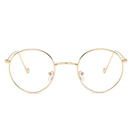 fregthf Marco Ronda Vasos Transparentes De Lente del Metal Retro Gafas Gafas Decorativo De Oro