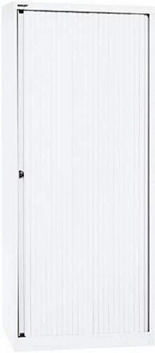 BISLEY Rollladenschrank EuroTambour, 4 Fachböden, 5 OH, B 800 mm, Metall, Pww696 Rollladen Verkehrsweiß, Korpus Verkehrsweiß, 43 x 80 x 198 cm