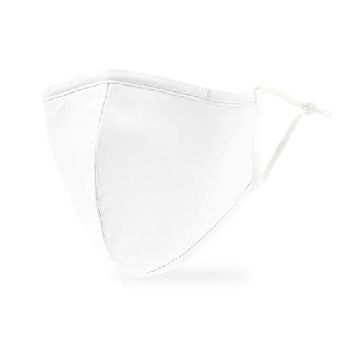 Weddingstar Maschera facciale in tessuto lavabile per adulti Copertura protettiva in tessuto riutilizzabile e regolabile con tasca per filtro antipolvere - bianca