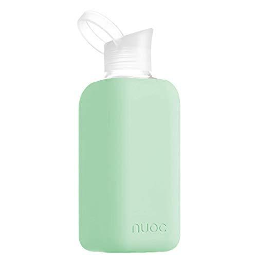NUOC - Botella de agua cristal | 800 ml. | Verde Menta | Botella de Agua Reutilizable | Botella de Cristal | Funda de Silicona | Bebidas Frías y Calientes | sin BPA | Ecológica | Deporte, Oficina