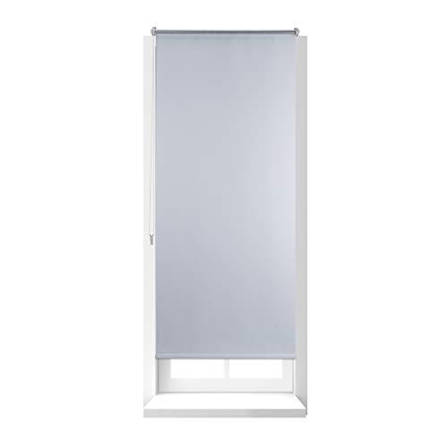 Relaxdays Thermo-verduisterend rolgordijn, bescherming tegen hitte, raam met trekkoord aan zijkant, Klemmfix zonder boren, 70x160, stof 66 cm, wit