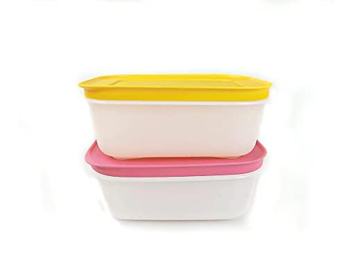 TUPPERWARE Gefrier-Behälter 450ml orange-weiß+pink-weiß Eis-Kristall Eiskristall