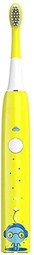 Cepillo de dientes eléctrico para niños, protector de cepillo de dientes eléctrico, recargable, USB, ideal para uso diario, rotación (color amarillo, tamaño: tamaño libre)