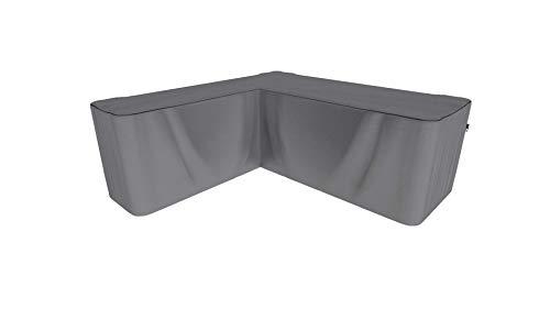 SORARA Schutzhülle gartenmöbel Abdeckung für Eckbank | L Form Lounge abdeckplane | Grau | 255 x 255 x 70/100 cm | wasserabweisend