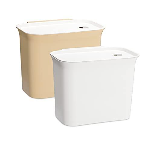 Navaris 2x Auffangschale für Küchenabfälle zum Einhängen - 2er Set Mülleimer Abfall Behälter für Bio Müll - Abfalleimer in Weiß Beige