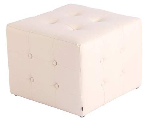 CLP Sgabello Pouf Cubic In Similpelle I Cubo Poggiapiedi Imbottito Chesterfield Cubico Salotto I Puff Divano Con Piedini, Colore:panna