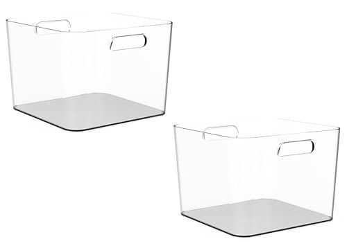 TIENDA EURASIA Cajas de Almacenaje con Asas - Organizadores de Plástico Multiusos - Ideales para baño, cocina, salón, dormitorio (Transparente, 2 Cajas - 25 x 26 x 18 cm - 9 L)