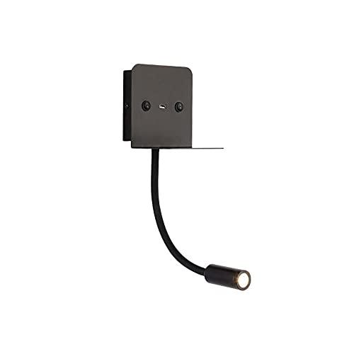 Lámpara de lectura flexible de montaje en pared de montaje en pared de cuello de cisne LED, escono de pared con cableado con interruptor, accesorio de iluminación interior moderno, puerto de carga USB