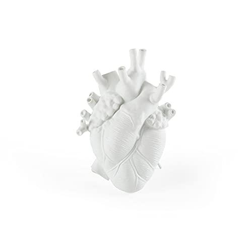 shandianniao Heartvase, Flor de Las macetas de Resina Adorno de Escritorio, florero Creativo de la Escultura en Forma de corazón Humano para la decoración del Arte del hogar (Color : White)