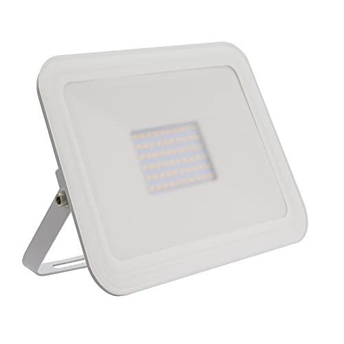 DK Multitec - Proiettore LED 50watt Bianco SLIM IP65 Illuminazione parchi giardini terrazze garage Faretto da esterno (K4000)
