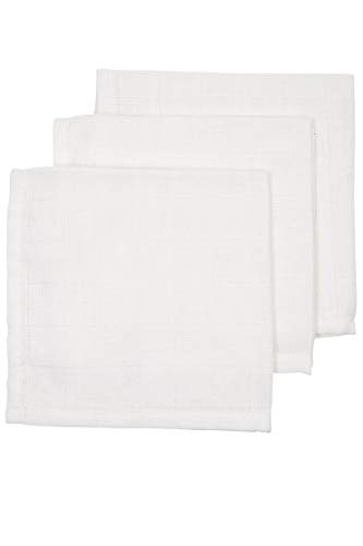 Meyco 457000 3 Stück Spucktücher Spucktuch Stofftuch Mulltuch Musselintuch 30x30cm 100% Baumwolle Weiß