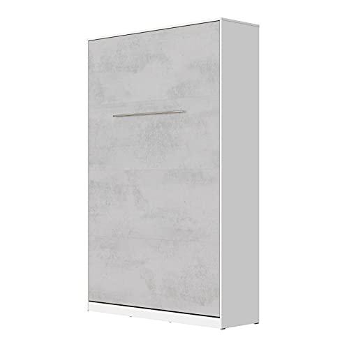 SMARTBett Standard 120x200cm Verticale Bianco/Calcestruzzo Comfort | Letto A Scomparsa, Letto A Muro, Letto A Parete, Letto Ribaltabile, Latto Armadio