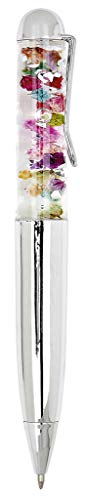 Kugelschreiber Flower Power | Stift mit Bunten Blüten und Glitzer | Mine Schwarz