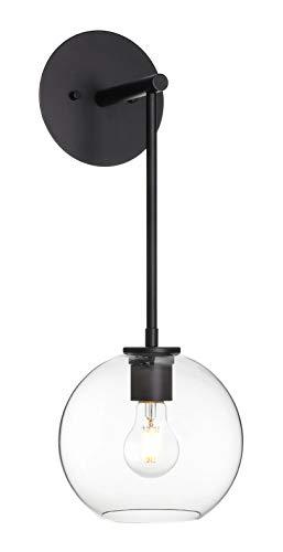 XiNBEi Lighting Aplique de pared, retro 1 globo de luz de vidrio, luz montada en la pared, acabado negro mate para baño, cabecera y...
