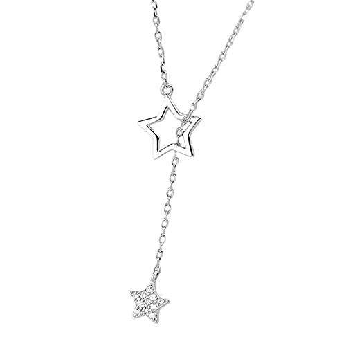 ZYYXB Collar de mujer con colgante de estrella simple y diseño simple para mujer, collar de clavícula, color plateado