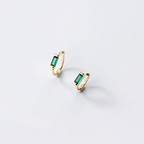 Hebilla de Oreja de circonita Cuadrada geométrica Blanca Verde Simple para Mujer Pendientes de aro de Plata de Ley 925 auténtica para Hombre, joyería